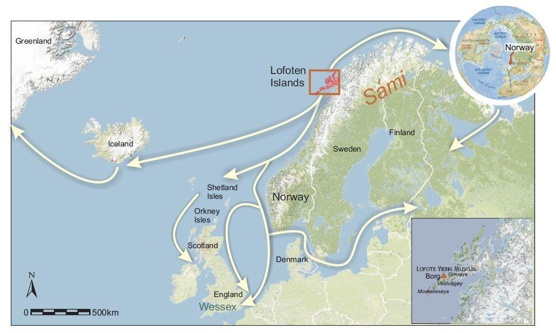 Viking Archaeology Map Showing Location Of The Lofoten Islands - Norway map lofoten islands